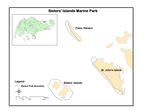 Map of Sisters' Islands Marine Park (Photo by NParks)