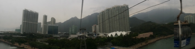 View from inside the cable car to Nyong Ping Town