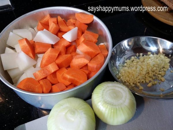 Radish, Carrot, Onion, Garlic (no ginger)