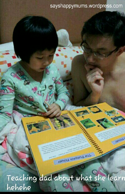 Last, but not least, recapping what she has learnt by 'teaching' daddy what she knows *haha*