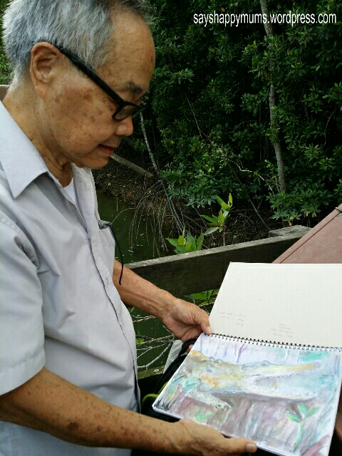 The amazingly humble Mr Wong sharing with us his sketches of nature & water-colour painting captured at Sg Buloh Nature Reserves.  Awesome max!
