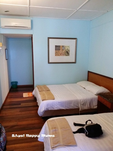 Our triple room with a queen and single bed, aircon and en-suite bathroom with hotwater shower