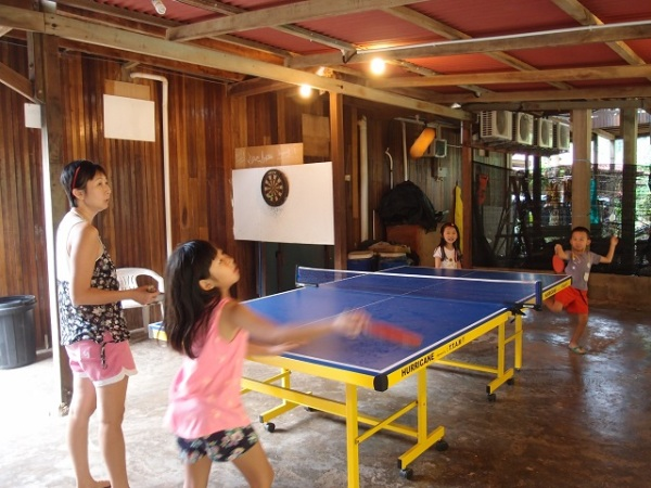 One of the many pingpong sessions. Photo taken by my mum.