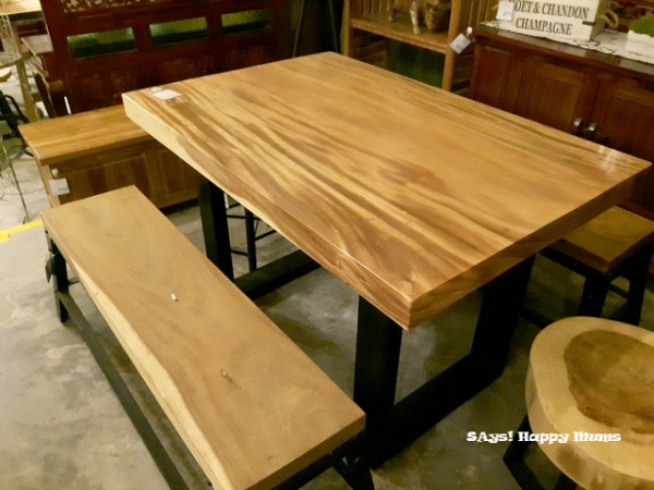Suar Wood Table with Metal Legsr