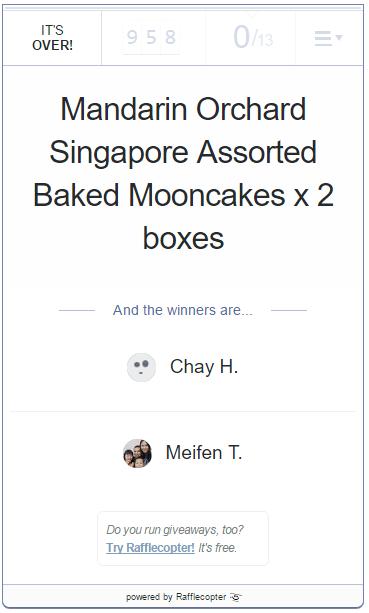 Mandarin Orchard Mooncake Givewaway Winners